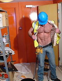 Hairy worker with a power drill for you