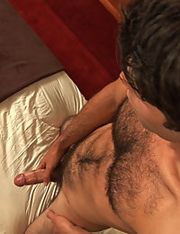 Hairy musician with tight muscled body and cock