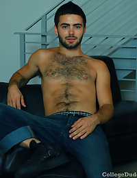 Cute hairy college guy gets naked and shows off