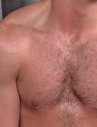 This cute hairy guy trims his body hair