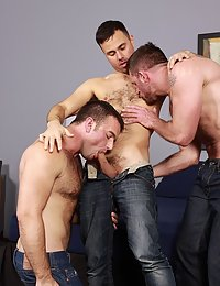 Three hot hairy guys get naked, suck and flip fuck, suck and flip fuck
