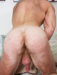 Hot hairy daddy strokes his big fat cock