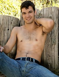 Hot hairy farm hand gets naked and strokes himself